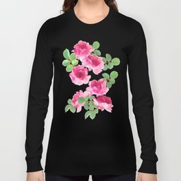 Raspberry Pink Painted Roses on White Long Sleeve T-shirt