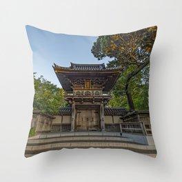 Gate to the Japanese Tea Garden in Golden Gate Park, San Francisco Throw Pillow