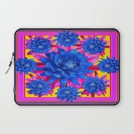 Decorative Puce Fuchsia Color Blue Tropical Flowers Pattern Laptop Sleeve