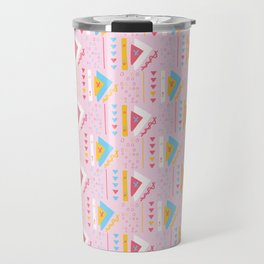 Girly Pink Triangles Memphis Style Geometric Abstract Seamless Vector Pattern Travel Mug