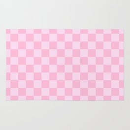 Pink Lace Pink and Cotton Candy Pink Checkerboard Rug
