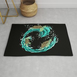 Graphic Swirling Turtles Rug