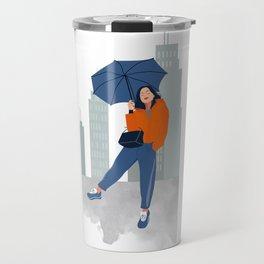 Girl with umbrella Travel Mug