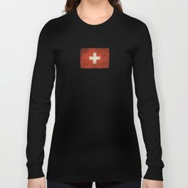 Old and Worn Distressed Vintage Flag of Switzerland Long Sleeve T-shirt