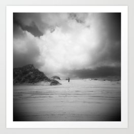 Girl Alone on the Sand Dunes - Corolla, NC - Black and White Film Photograph Art Print