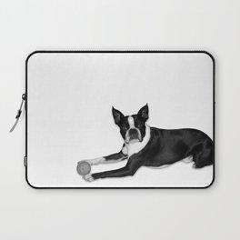 Fetch Boston Terrier B/W Laptop Sleeve