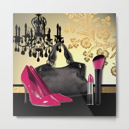 Chandelier Handbag Pumps Cosmetics Fashion Collage Metal Print