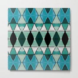 Art Deco Triangles Blue Metal Print