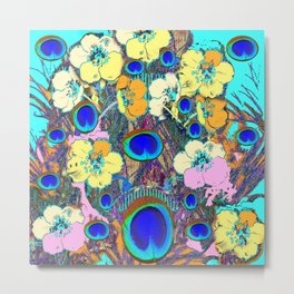 Modern Art Nouveau Peacock Jeweled Floral Blue Patterns Metal Print