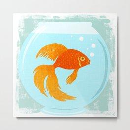 Goldfish Fishbowl Metal Print