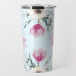 Floral Square Acqua Travel Mug