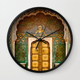 Rose gate door in pink city at City Palace of Jaipur, India Wall Clock