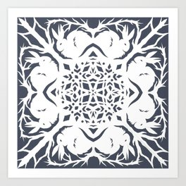 Elegant Cut Paper Bunnies Art Print