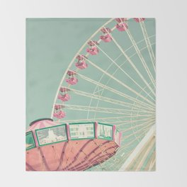 Pink and mint nursery composition Throw Blanket