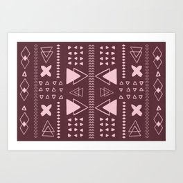 Burgundy Geometric Pattern Art Print