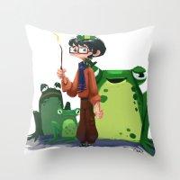 merlin Throw Pillows featuring Merlin by Erin Eng