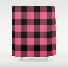 Pink Black Buffalo Plaid Shower Curtain