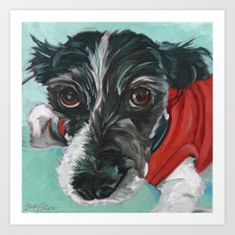 Black and White Dog Portrait Art Print