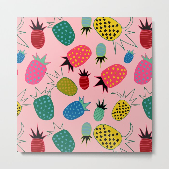 pineapple fun tropical pink Metal Print