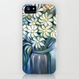 """""""Retro Vintage Bouquet of White and Blue Flowers"""" iPhone Case"""