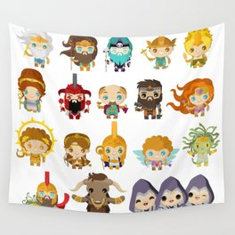 chibi kawaii gods of the greek mythology Wall Tapestry