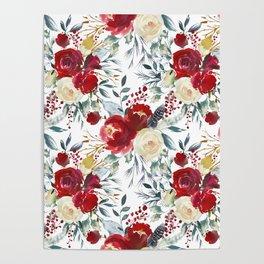 Elegant burgundy pink teal gray watercolor holly leaves floral Poster