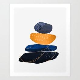 Pebbles & wire - copper Art Print