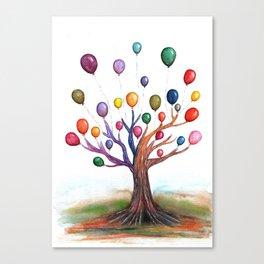 Balloon Tree Watercolor Canvas Print