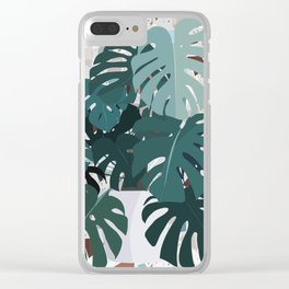 leaves+terrazzo Clear iPhone Case