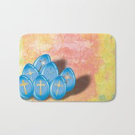Blue eggs and crosses on pastel textured background Bath Mat