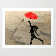 Girl with Red Umbrella Art Print