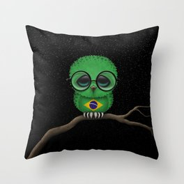 Baby Owl with Glasses and Brazilian Flag Throw Pillow