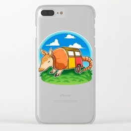 Funny Armadillo Holiday Camper Trailer Camping product Clear iPhone Case