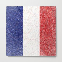 French Flag Scribble Metal Print