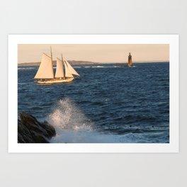 A ship, a wave and a lighthouse Art Print