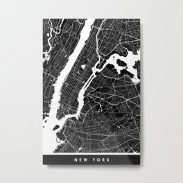 New York - Minimalist City Map Metal Print