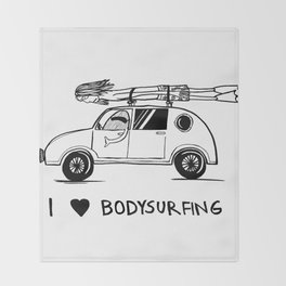 I HEART BODYSURFING Throw Blanket