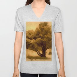 Sepia Juniper Tree by CheyAnne Sexton Unisex V-Neck