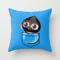 warcraft Throw Pillows featuring Ninja Pepe! by SlothgirlArt