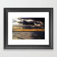 Sunbeams above the sea Framed Art Print