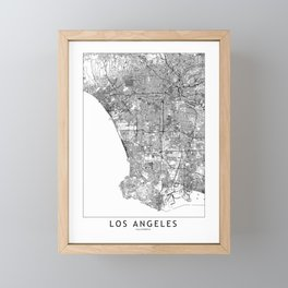 Los Angeles White Map Framed Mini Art Print