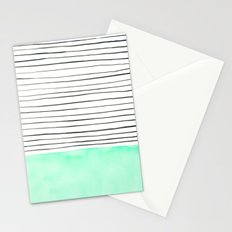 Stripes and watercolor Stationery Cards