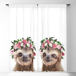 Baby Sloth With Flower Crown, Baby Animals Art Print By Synplus Blackout Curtain