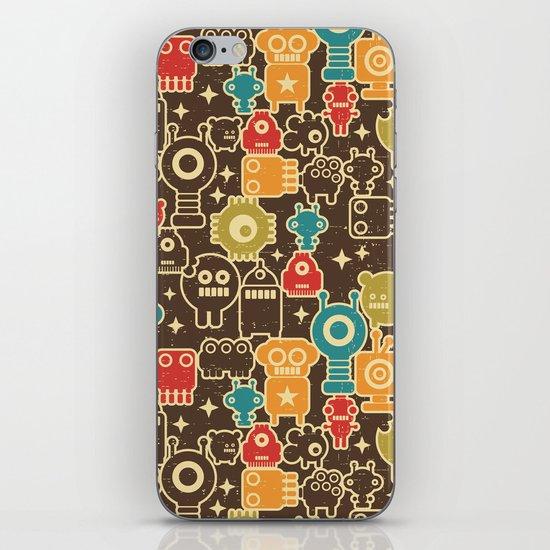 Robots on brown. iPhone & iPod Skin