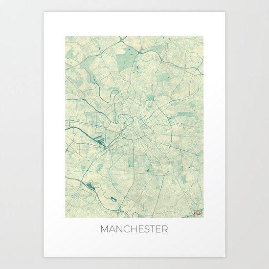 Manchester Map Blue Vintage Art Print