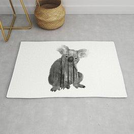 Misty Forest Koala Bear - black and white Rug