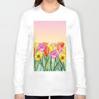 tulips Long Sleeve T-shirts featuring Tulips by Julia Badeeva