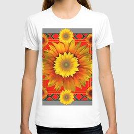 RED-GREY DECO YELLOW SUNFLOWERS MODERN ART T-shirt
