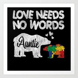 Autism Awareness Auntie Bear Family Autistic Kids Art Print