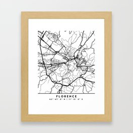 FLORENCE ITALY BLACK CITY STREET MAP ART Framed Art Print